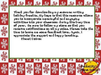 holiday Christmas writing literacy FREEBIE Missing Snowman