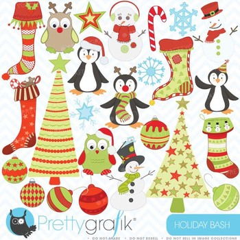 holiday christmas clipart, commercial use, vector graphics