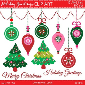 holiday clip art with Christmas tree, ornaments, text; .pn