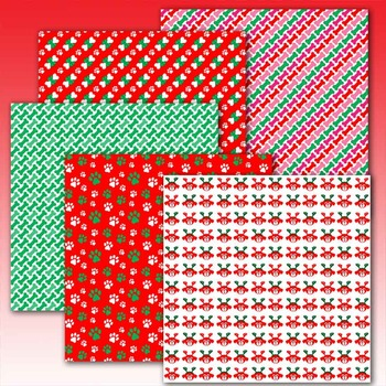 holiday digital paper with paw prints/dog/pet theme 10 .jpg files TPT189