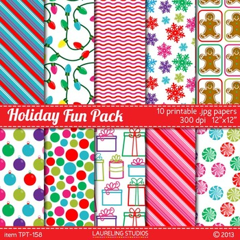 holiday printable digital paper with gingerbread, gifts, christmas lights