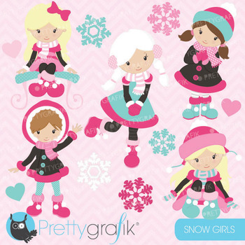 holiday snow girls clipart , vector graphics, digital clip art CL621