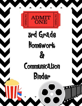 hollywood Movie Theme Binder Cover - 3rd Grade