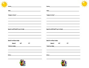 home communnication sheets