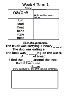 homework sheet with spelling list words