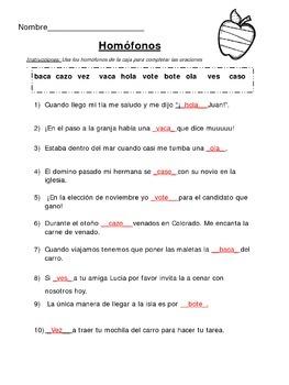 homófonos / homofonos / homophones in Spanish