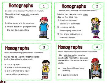 homographs, task cards