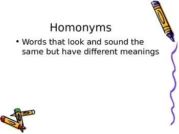 homonyms, homographs, homophones