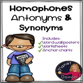 homophones synonyms antonyms grammar worksheets anchor charts ELA