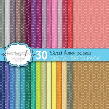 honeycomb hexagonal digital paper, commercial use, scrapbook papers - PS600