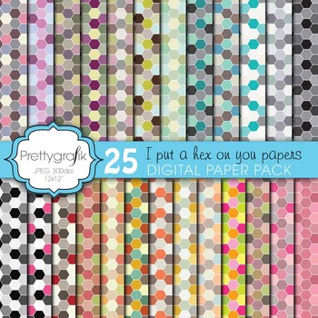 honeycomb hexagonal digital paper, commercial use, scrapbook papers - PS601
