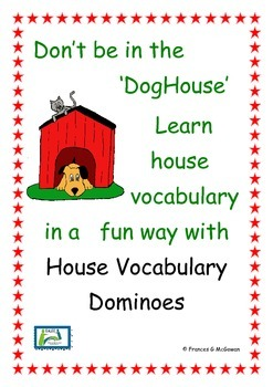 house vocabulary - picture and word matching dominoes game