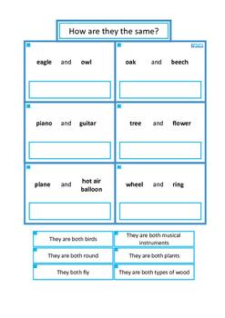 Autism Vocabulary Skills, Similarities, Categories, Antonyms, SLP, ESL