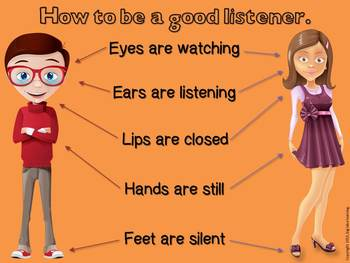 how to be a good listener, posters (teach students about listening)