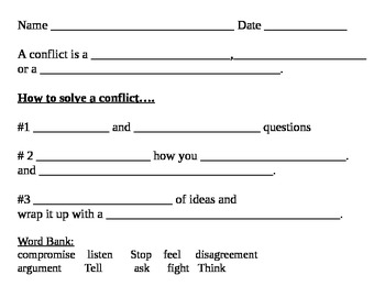 how to solve a conflict activity sheets