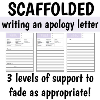 how to write an apology letter | differentiated / scaffolded