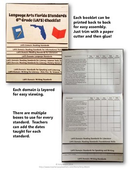 Florida Standards MAFS Math Mathematics 7th Grade Checklist Layered Flap Book