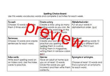 hw choice board for nonfiction/fiction/spelling and vocabulary