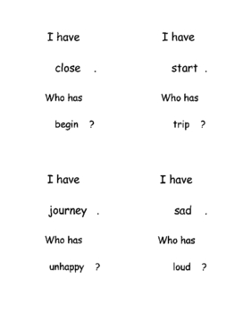 """""""I have... Who has...?"""" Cards, Synonyms (Beginning)"""