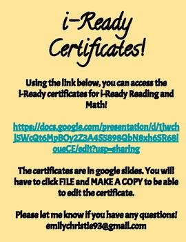 i-Ready Award Certificates *EDITABLE*