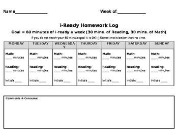 i-Ready Homework Log