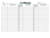 i-Ready Homework Log specified with district requirements