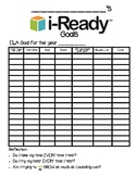 i-Ready Year Goals Chart Log Record Keeping for Reading &
