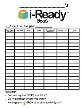 i-Ready Year Goals Chart Log Record Keeping