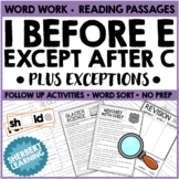 i before e, except after c + exceptions ACTIVITY CARDS! Spelling and Word Work!
