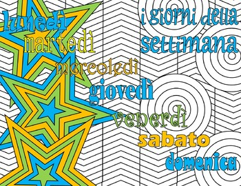 i giorni della settimana - Days of the week Italian Adult Coloring Page