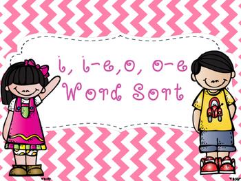 i, i-e, o, o-e Word Sort