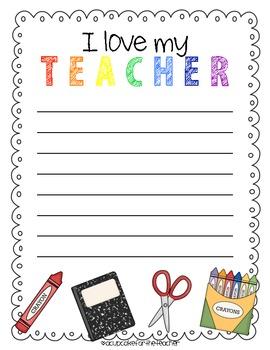 I Love My Teacher {Free Printables}