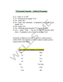 i pronomi soggetti - Notes (Appunti) Italian