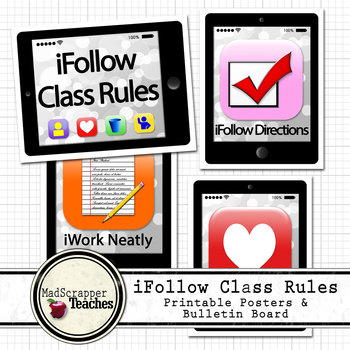 iFollow Class Rules Smartphone Classroom Rules Posters and Bulletin Board