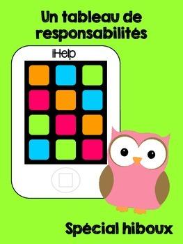 iHelp : Tableau de responsabilités - Version hiboux