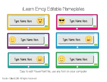 iLearn Brights Emoji Nameplates FREE