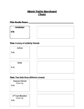 iMovie Trailer Outline and Storyboard (Teen)