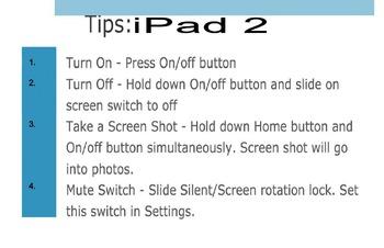 iPad 2 Tips Chart