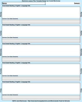 iPad 6RLA Interactive Weekly Lesson Plan Template with 3 Common Core Standards