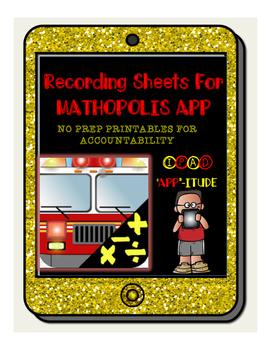 iPad Accountability No Prep Printables for MATHOPOLIS APP (All Operations)