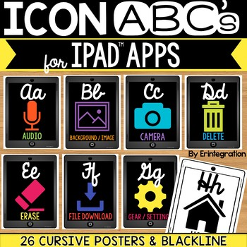 iPad Alphabet Cards of Frequently Used iPad Icons - Grey iPads w/Cursive