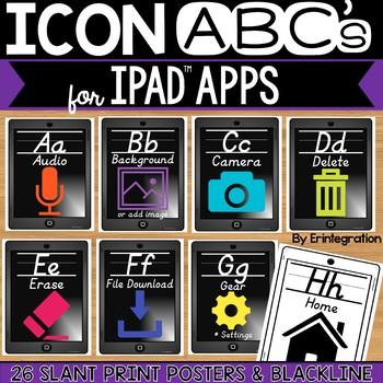 iPad Alphabet Cards of Frequently Used iPad Icons - Grey w/ Slanted Print