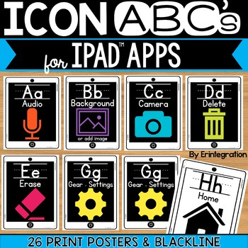 iPad Alphabet Cards of Frequently Used iPad Icons - White iPads with Print