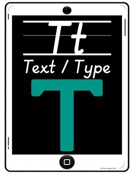 iPad Alphabet Cards of Frequently Used iPad Icons - White w/ Slanted Print
