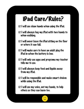 iPad Care & Rules Sign