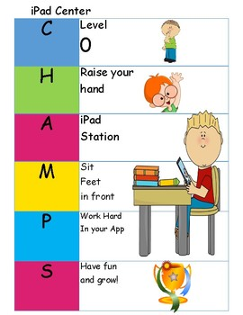 iPad Center CHAMPS plan Visual Schedule