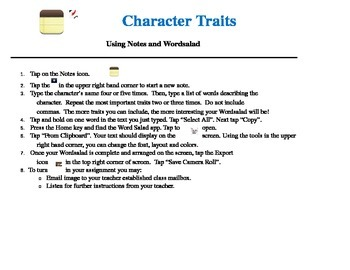 iPad Character Traits Task Card