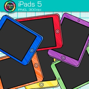 iPad Clip Art {Rainbow Tablet Devices for Technology Lessons and Computer Lab} 5