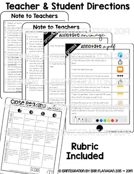 iPad Close Reading Task Cards: Digitally annotate, highlight & find evidence.
