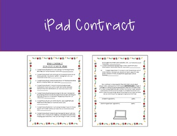 iPad Contract for Classroom